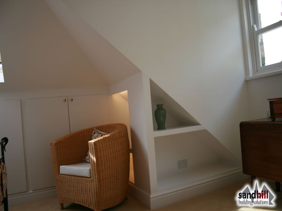 attic loft bedroom ideas - Loft conversion bedroom with ensuite Putney London SW15