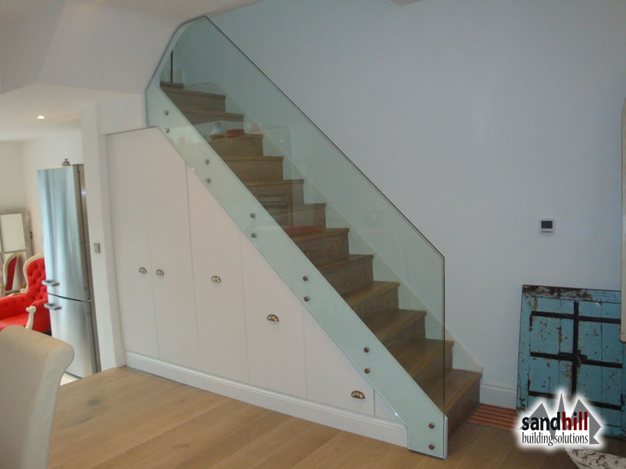 Stair Renovation Glass Balustrade Wine Rack London Sw11